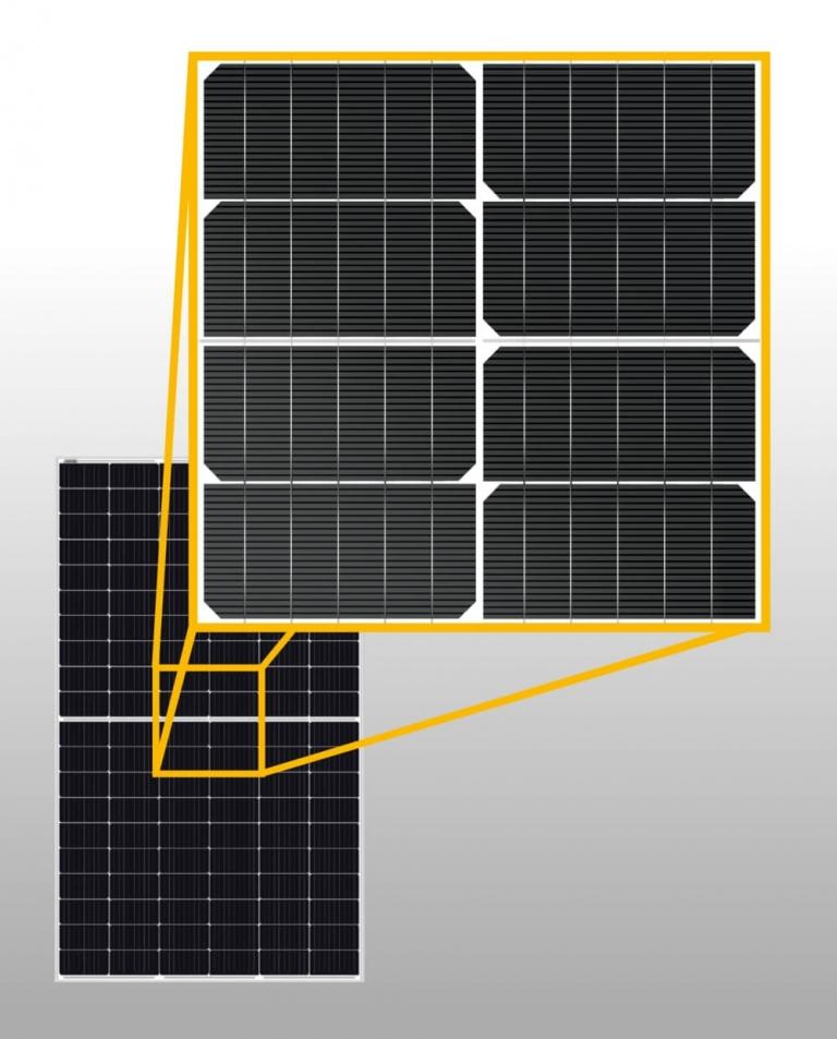 osztott, vagy más néven félcellás napelem