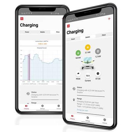Solar Wattpilot App felhasználói felülete